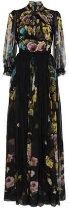 Dolce & Gabbana Silk Chiffon Floral Print Maxi Dress