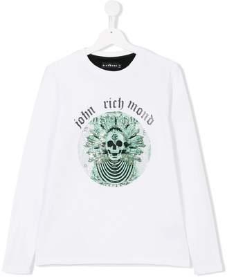 John Richmond Kids TEEN embellished skull long sleeve Tee
