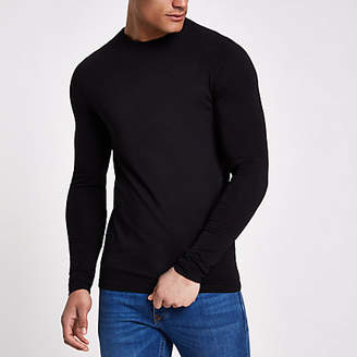 River Island Black muscle fit long sleeve T-shirt