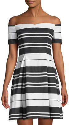 GUESS Off-the-Shoulder Striped Canvas Dress