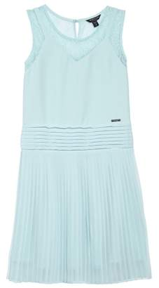Marciano Pleated Chiffon Party Dress