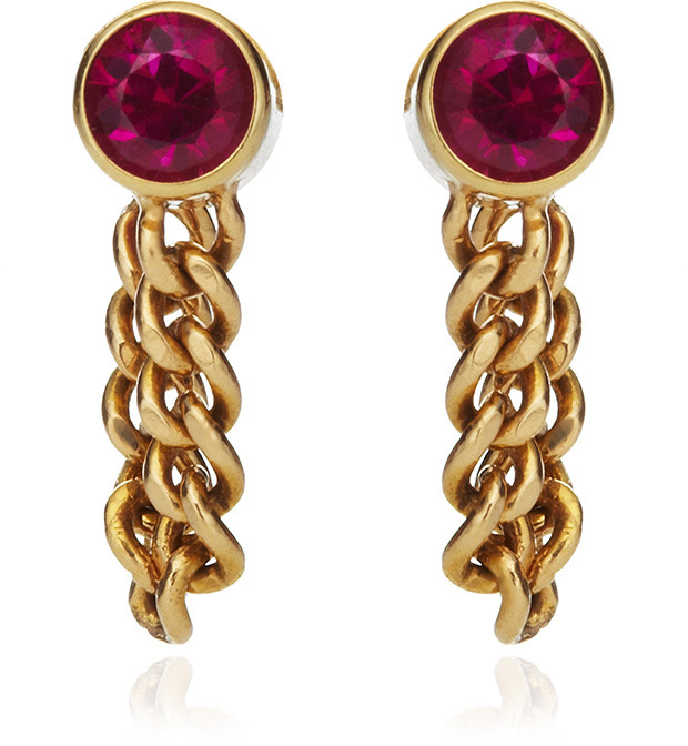 Janis Savitt Chain Hoop Ruby Earrings