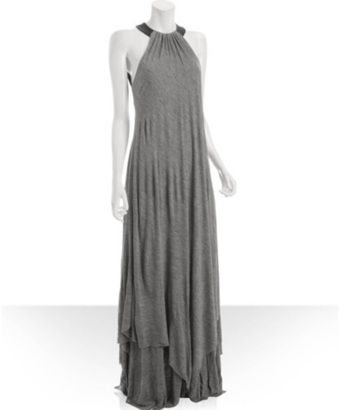 A.L.C. heather grey jersey low back maxi gown