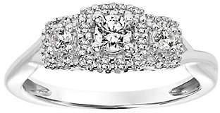 Affinity Diamond Jewelry Pave Halo Three Stone Diamond Ring, 14K, 1/3 ct tw, by Affinit