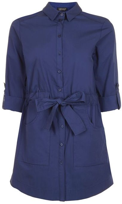 Topshop Topshop Poplin belted shirt dress