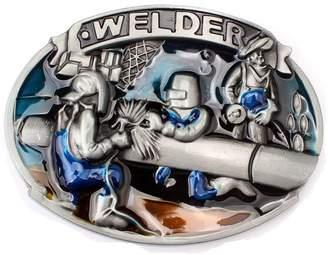 SAM. Store Vintage Welder Belt Buckle Cowboy Native American Motorcyclist (WDR-02)