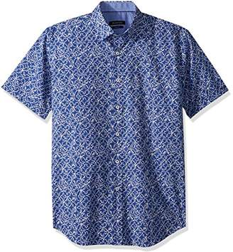 Bugatchi Men's Fitted Short Sleeve Printed Point Collar Shirt