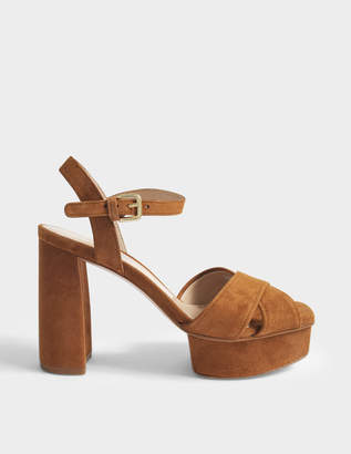 Stuart Weitzman Exposed Suede Platform Sandals in Saddle Suede