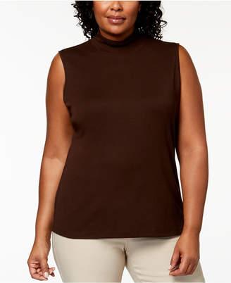 Karen Scott Plus-Size Sleeveless Mock-Neck Top, Created for Macy's