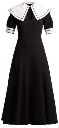 Emilia Wickstead Sabine Short Sleeved Wool Crepe Midi Dress - Womens - Black