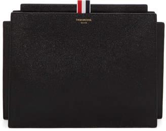 Thom Browne Black Accordion Folio Clutch