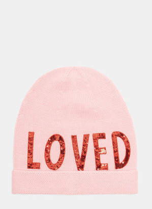 Gucci Sequin Embroidered Loved Knit Hat in Pink