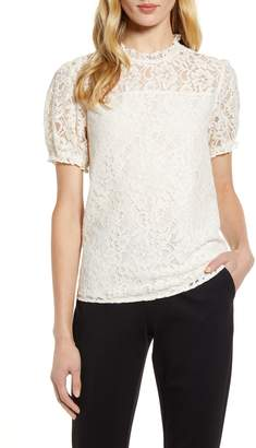 CeCe Puffed Sleeve Floral Lace Blouse