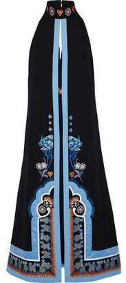 Temperley London Parchment Collar Layered Embroidered Crepe Midi Dress