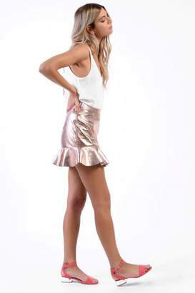 Glamorous **MeTallic Frill Hem Skirt by Petites