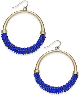 "INC International Concepts Trina Turk x I.N.C. Large 2"" Gold-Tone Beaded Drop Hoop Earrings, Created for Macy's"