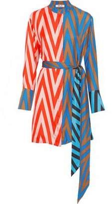 Diane von Furstenberg Belted Printed Silk-Twill Mini Shirt Dress
