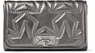 Jimmy Choo HELIA CLUTCH Dark Anthracite Matelasse Nappa Leather with Metallic Star-Studded Clutch Bag