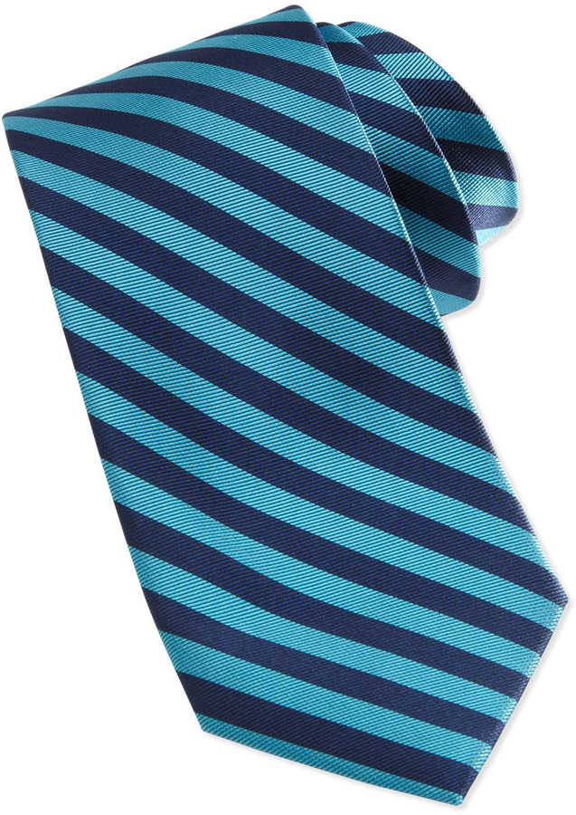 Neiman Marcus Bias Stripe Skinny Silk Tie, Teal