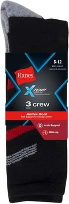 Hanes Men's Big and Tall X Temp Crew Socks (Pack of 3), Black