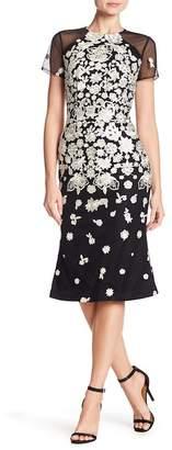 Carmen Marc Valvo Floral Embroidered Midi Dress