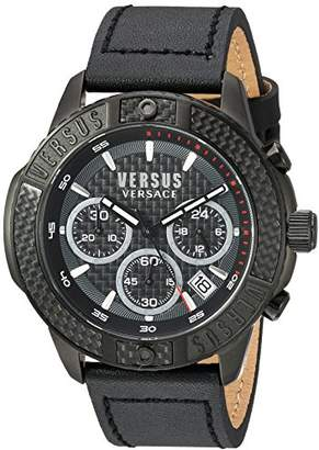 Versus By Versace Men's 'Admiralty' Quartz Stainless Steel and Leather Casual Watch
