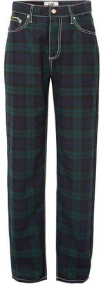 Eytys Benz Cali Plaid Flannel Wide-leg Pants - Navy