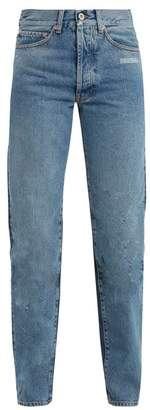Off-White Off White Contrast Panel High Rise Straight Leg Jeans - Womens - Denim