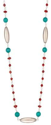 Stephen Dweck Sterling Silver Single Strand Stone Bead Necklace