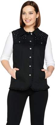 Factory Quacker Woven Ruffle Vest with Rhinestone Yoke
