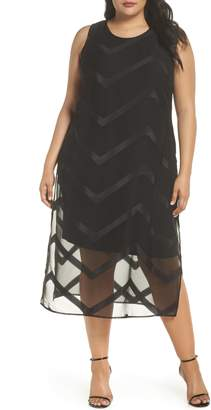 Vince Camuto Sheer Chevron Midi Dress