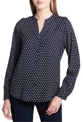 Calvin Klein Plus Polka Dot Button Front Blouse