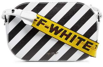 Off-White black and white diagonal stripe leather camera bag