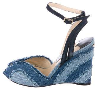 Jimmy Choo Denim Peep-Toe Wedges