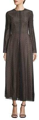 Lanvin Perforated Long Sleeve Dress