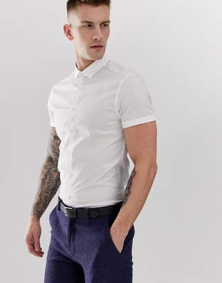 Asos Design DESIGN skinny shirt in white with short sleeves