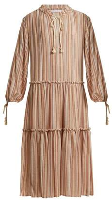 See by Chloe Tiered Striped Gauze Dress - Womens - Beige Stripe