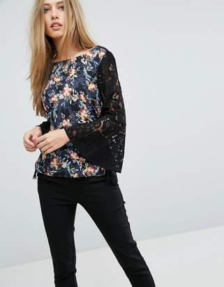 French Connection Floral Top With Lace Sleeves