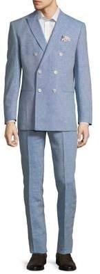 Tallia Orange Double-Breasted Linen Suit