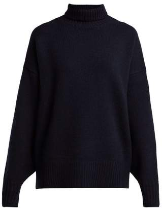 The Row Pheliana Roll Neck Cashmere Sweater - Womens - Navy
