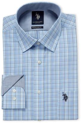 U.S. Polo Assn. Blue Shadow Plaid Regular Fit Dress Shirt