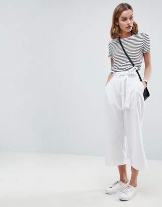 Asos Design Tailored Linen Culotte With Tie Waist And Turn Up