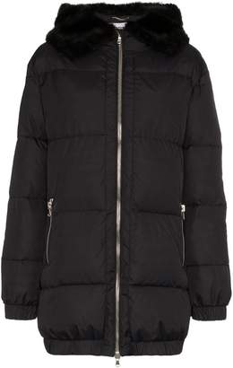 Moschino faux fur trimmed logo print puffer jacket