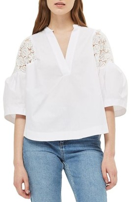 Women's Topshop Puff Sleeve Cotton Top $75 thestylecure.com