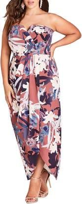 City Chic Lavish Floral Strapless Dress