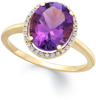 Macy's Amethyst (3 ct. t.w.) and Diamond (1/8 ct. t.w.) Ring in 14k Yellow Gold