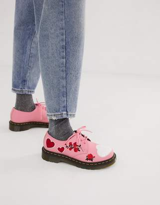 Dr. Martens 1461 embroidered heart leather flat shoes in pink