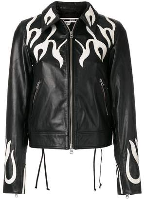 McQ flame effect leather jacket