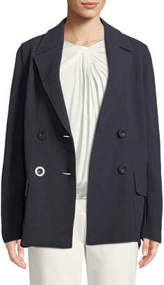 Leon Max Double-Breasted Twill Coat