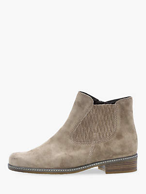 Gabor Pescara Extra Wide Fit Ankle Chelsea Boots, Taupe Suede